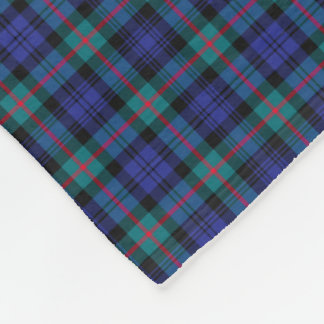 Murray Clan Turquoise and Royal Blue Modern Tartan Fleece Blanket