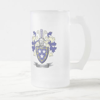Murray Family Crest Coat of Arms Frosted Glass Beer Mug