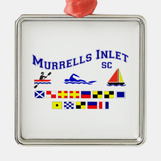 Murrells Inlet SC Signal Flags Square Metal Christmas Ornament