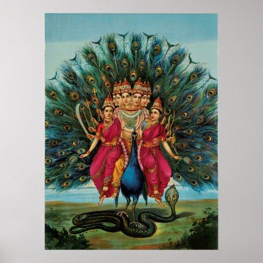Murugan Kartikeyan Skanda Subrahmanyan Hindu Deity Poster