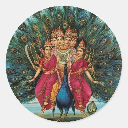 Murugan Kartikeyan Skanda Subrahmanyan Hindu Deity Classic Round Sticker