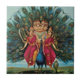 Murugan Kartikeyan Skanda Subrahmanyan Hindu Deity Small Square Tile