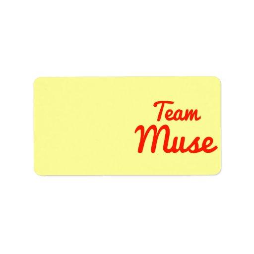Musa del equipo etiquetas de dirección