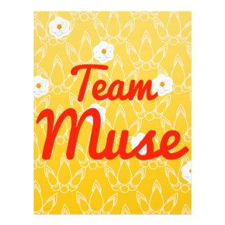 Musa del equipo tarjetas informativas