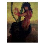 Musa que toca la arpa postal