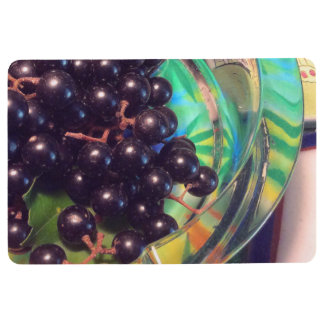 Muscadine Grapes and Transparent Glass Floor Mat
