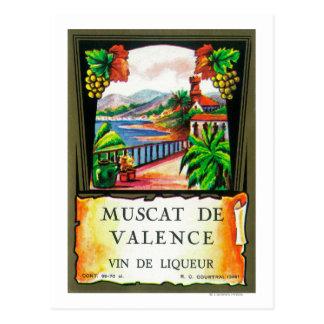 Muscat De Valence Wine LabelEurope Postcard