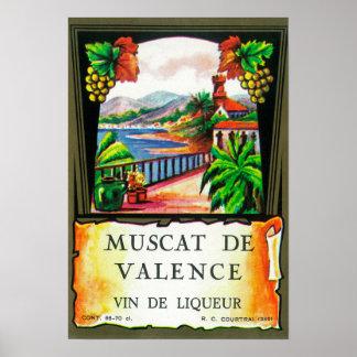 Muscat De Valence Wine LabelEurope Poster