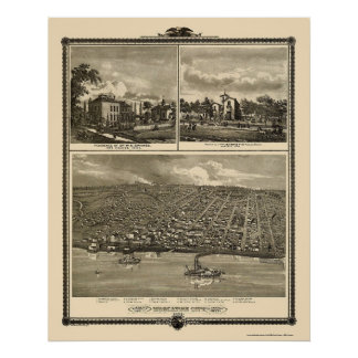 Muscatine City, IA Panoramic Map - 1875 Poster