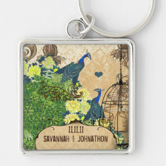 Muscial Vintage Bird Cage Peacock Damask Key Chain
