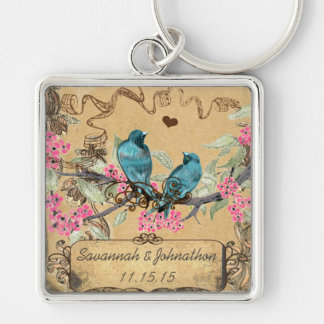 Muscial Vintage Birds Hand Drawn Blooms Key Chain