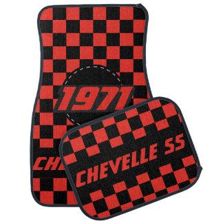 Muscle Car Checkered Flag Pattern | Black & Orange Car Floor Mat