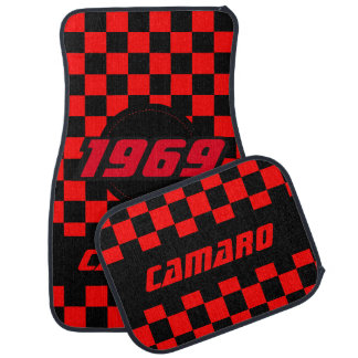 Muscle Car Checkered Flag Pattern | Black & Red Car Floor Mat