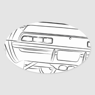 Muscle car drawing oval sticker