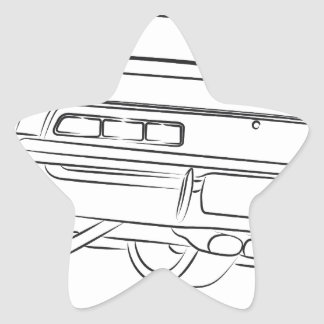 Muscle car drawing star sticker