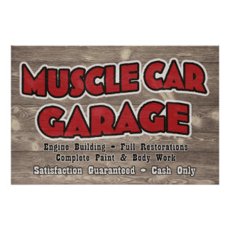 Muscle Car Garage Poster - Customized