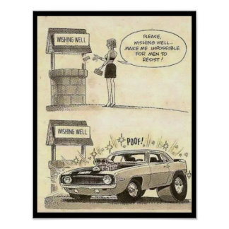 Muscle Car Humor Cartoon Poster