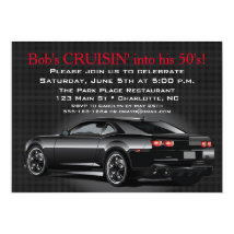 Muscle Car Mens Adult Birthday Party Card