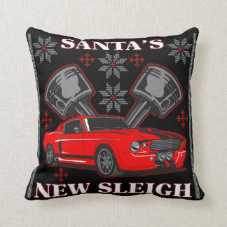 Muscle Car Santa's New Sleigh Ugly Holiday Sweater Throw Pillow