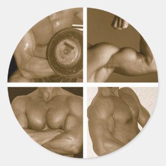 Muscle Flex: www.AriesArtist.com Classic Round Sticker