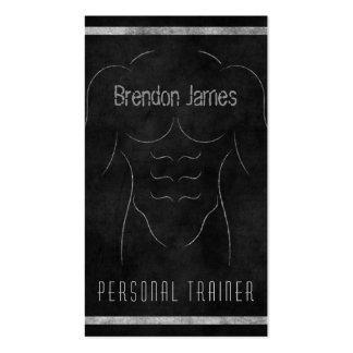 Muscle Man Black Personal Trainer Business Cards