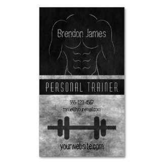 Muscle Man Black Personal Trainer Business Cards Magnetic Business Cards (Pack Of 25)