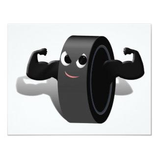 Muscle Man Hockey Puck Custom Invite