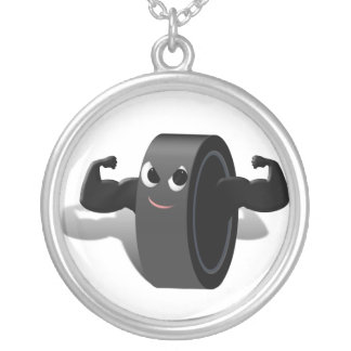 Muscle Man Hockey Puck Necklace