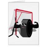 Muscle Man Hockey Puck w/Goal & Hockey Sticks Cards