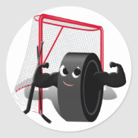 Muscle Man Hockey Puck w/Goal & Hockey Sticks Classic Round Sticker