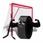 Muscle Man Hockey Puck w/Goal & Hockey Sticks Acrylic Cut Outs