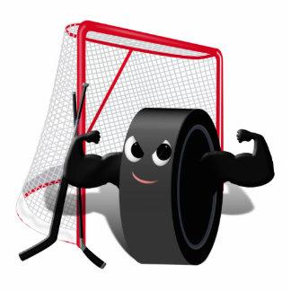 Muscle Man Hockey Puck w/Goal & Hockey Sticks Statuette