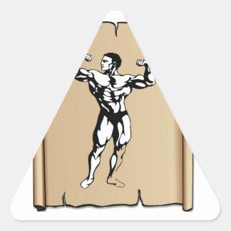 muscle man meat yeah triangle sticker