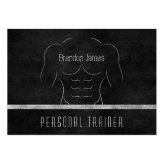 Muscle Man Personal Trainer Black Business Cards