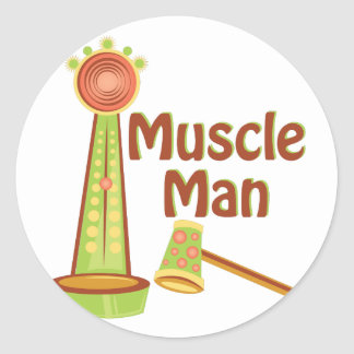 Muscle Man Classic Round Sticker