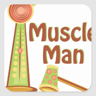 Muscle Man Square Sticker