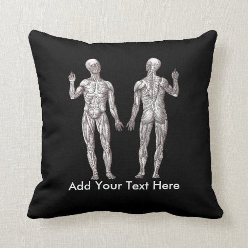 Muscle Men _ Anatomy of the Human Muscular System Throw Pillow