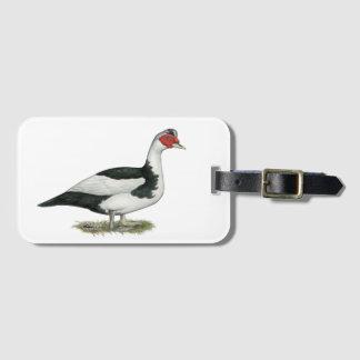 Muscovy Black Pied Drake Bag Tag