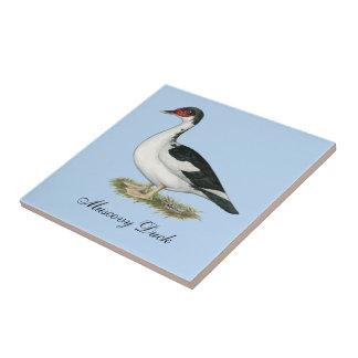 Muscovy Black Pied Duck Ceramic Tile