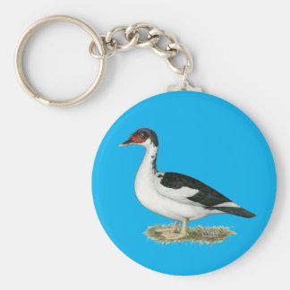 Muscovy Black Pied Duck Keychain