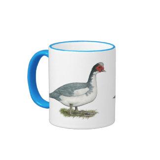Muscovy Blue Pied Drake Ringer Coffee Mug