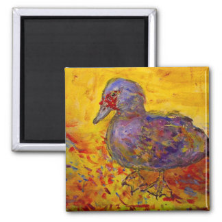 muscovy duck 2 inch square magnet