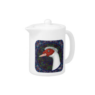 Muscovy Duck Head White Teapot