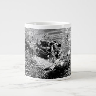 Muscovy duck hen and ducklings black and white 20 oz large ceramic coffee mug