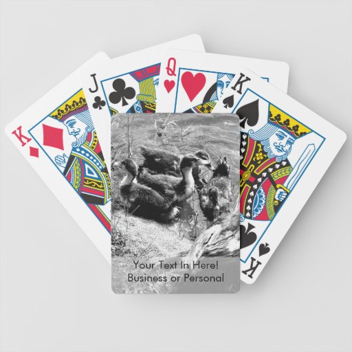 Muscovy duck hen and ducklings black and white poker cards