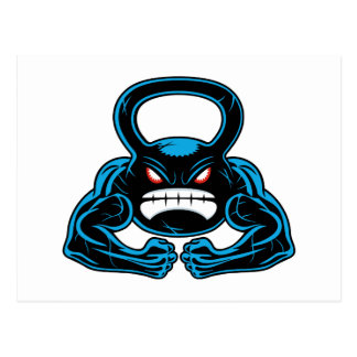 muscular angry kettlebell mascot post card