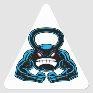muscular angry kettlebell mascot triangle sticker