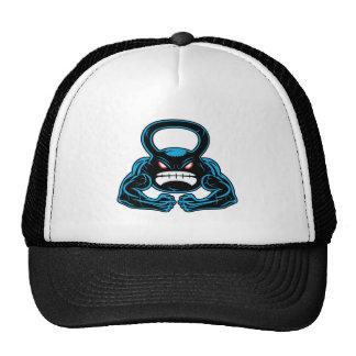 muscular angry kettlebell mascot trucker hat
