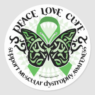 Muscular Dystrophy Butterfly Tribal 2 Classic Round Sticker