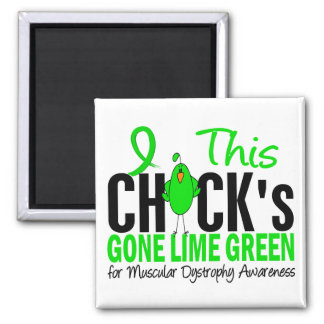 Muscular Dystrophy Chick Gone Lime Green 2 Inch Square Magnet